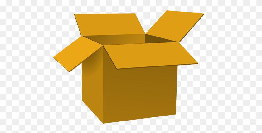 Dark Brown Open Cardboard Box Vector Illustration - Cardboard Box Clipart
