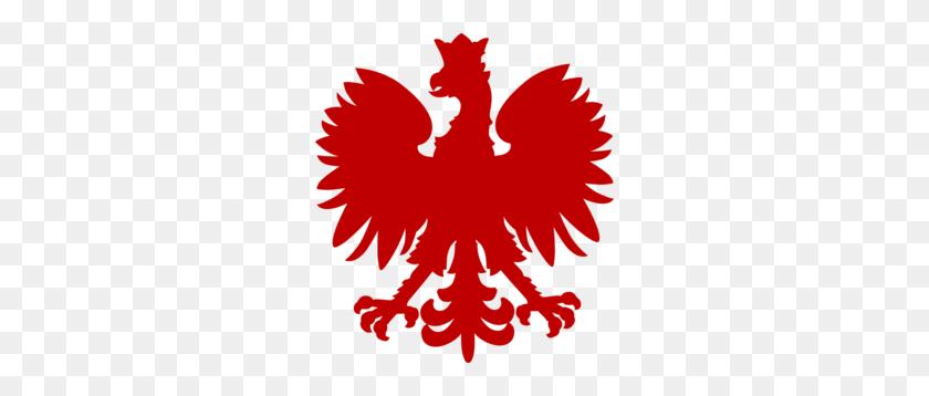 Dark Red Polish Falcon Clip Art - Polish Flag Clipart