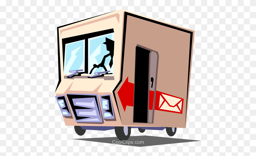 Delivery Truck Royalty Free Vector Clip Art Illustration - Mail Truck Clipart