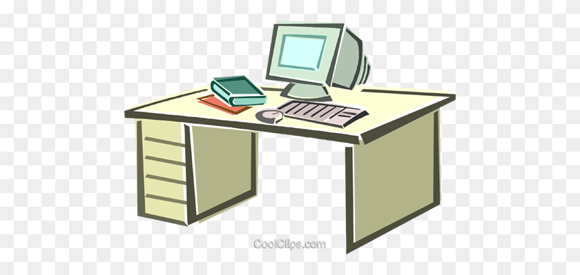 Desktop Computer Royalty Free Vector Clip Art Illustration - Personal Computer Clipart