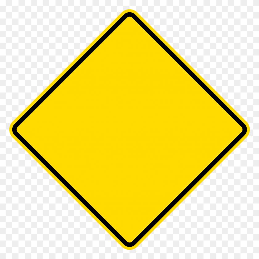 Diamond Warning Sign - Yellow Line PNG