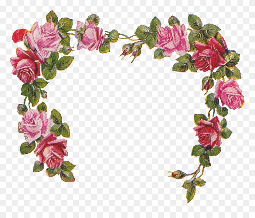 Die Cut Rose Heart With Cherub Poem Wings Of Whimsy - Rose Frame PNG