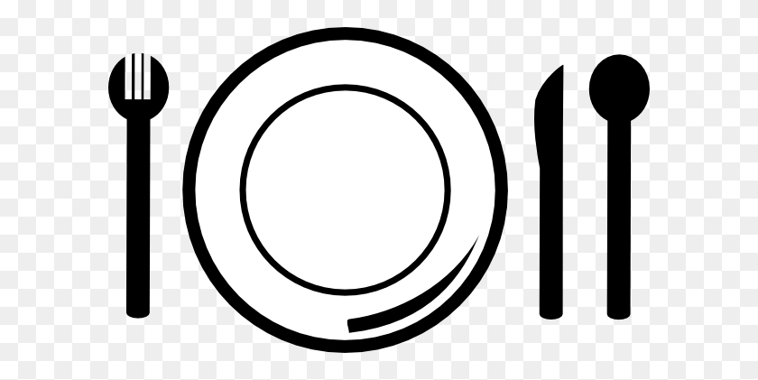 600x361 Dinner Plate Pictures - Lunch Clipart Black And White