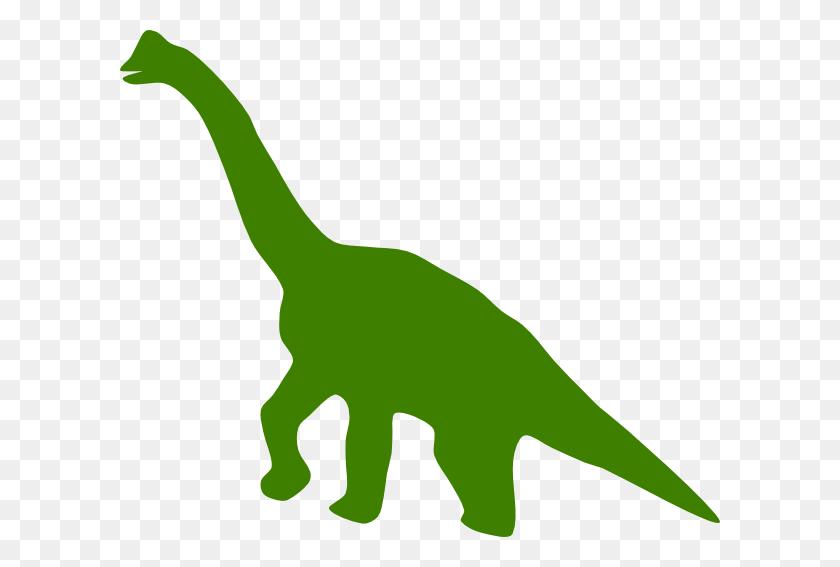 600x507 Dinosaur Clipart Green Silhouette - Long Neck Dinosaur Clipart
