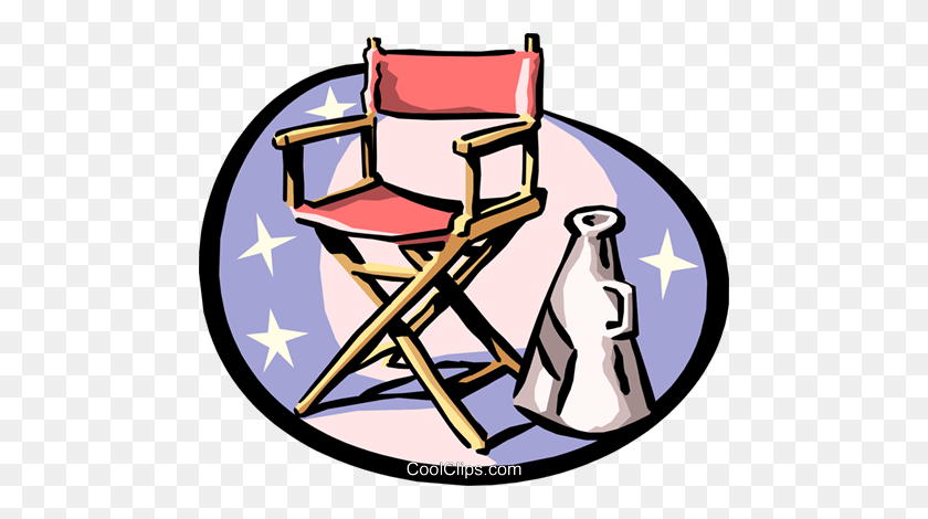 480x410 Director's Chair And Megaphone Royalty Free Vector Clip Art - Megaphone Clipart