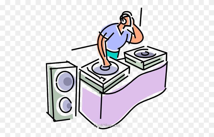 480x476 Dj Spinning The Tunes Royalty Free Vector Clip Art Illustration - Free Dj Clipart