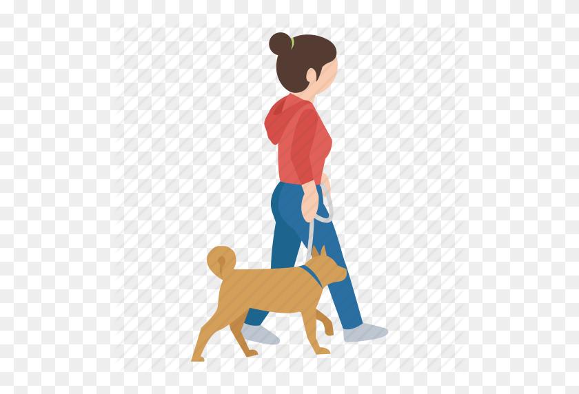 Dog, Female, Girl, Person, Street, Walker, Walking Icon - Girl Walking PNG