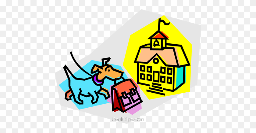 Dog With Book Bag Going To School Royalty Free Vector Clip Art - Obedience Clipart