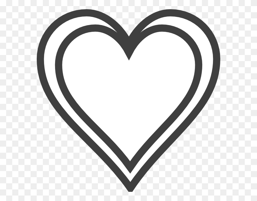 Double Heart Outline Clip Art - Family Heart Clipart