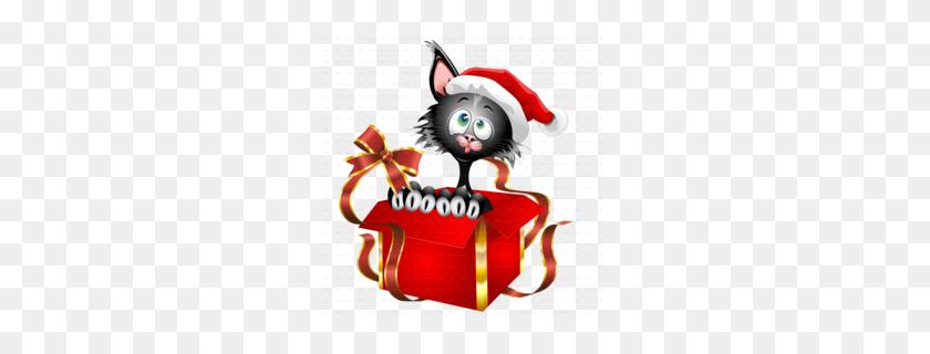 Download Christmas Gift Kitten Full Color Decal, Kitten Full Color - Christmas Cat Clipart