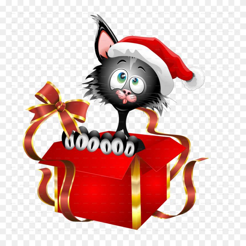 Download Christmas Gift Kitten Full Color Decal, Kitten Full Color - Christmas Gift Clipart