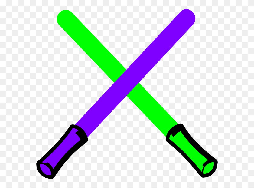600x561 Download Green And Purple Light Saber Clipart - Saber PNG