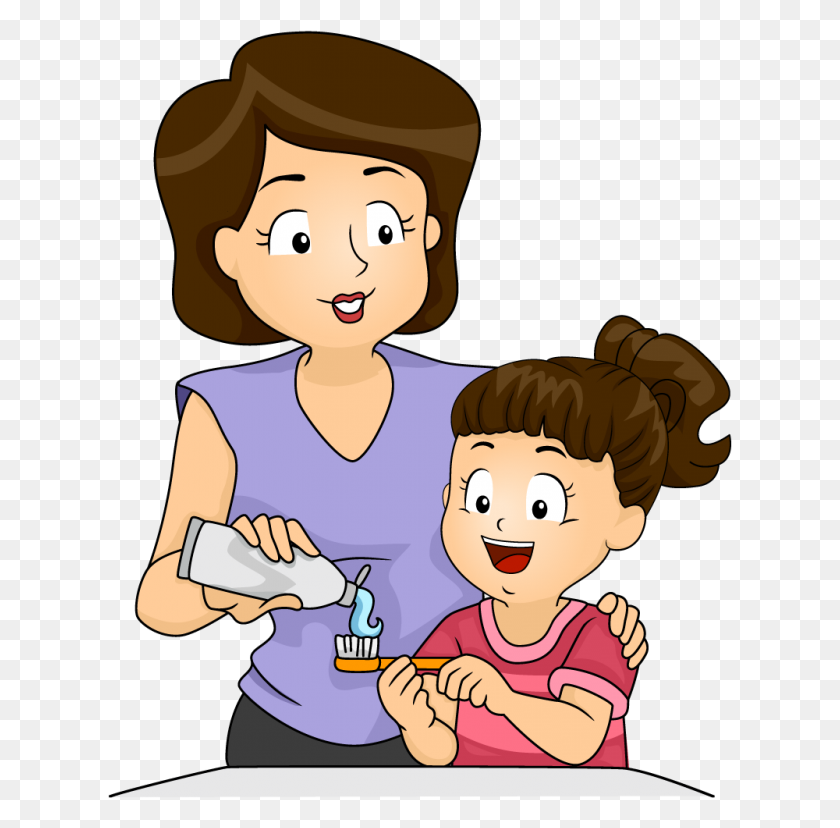 Download Mother And Kid Brushing Teeth Clipart Tooth Brushing Clip - Mother And Child Clipart