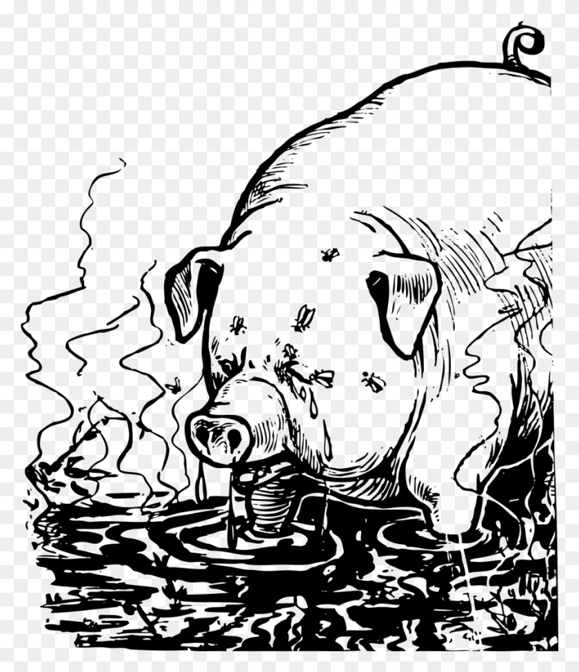 Download Pig Filthy Clipart Domestic Pig Clip Art White, Black - Pig Image Clipart