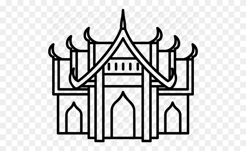 Download Thai Temple Black And White Clipart Buddhist Temple Wat - Temple Clipart