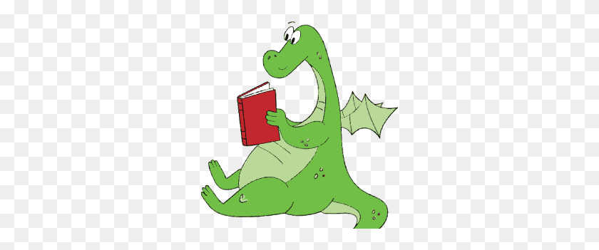 Dragon Clipart Reading - Reading Book Clip Art