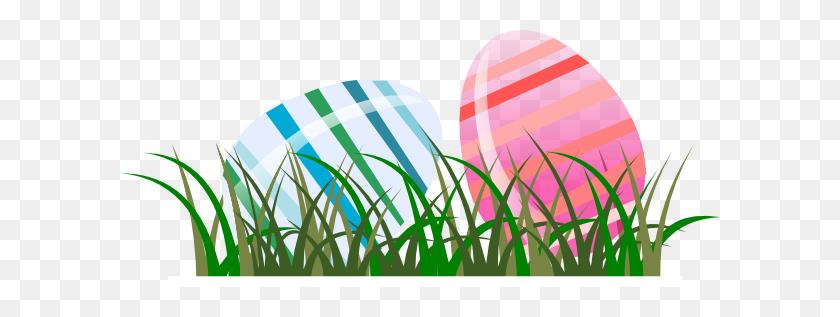 600x257 Easter Eggs In Grass Clip Art - Easter Egg Hunt Clipart