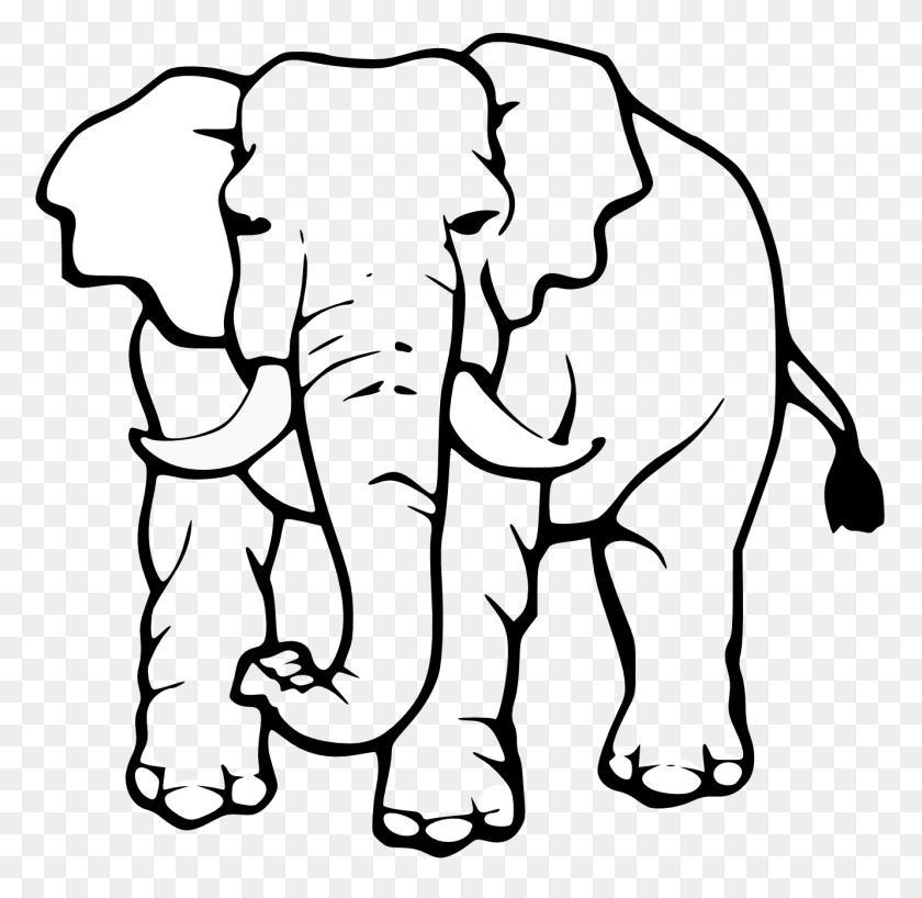 Elephant Clipart Black And White - Mom And Baby Elephant Clipart