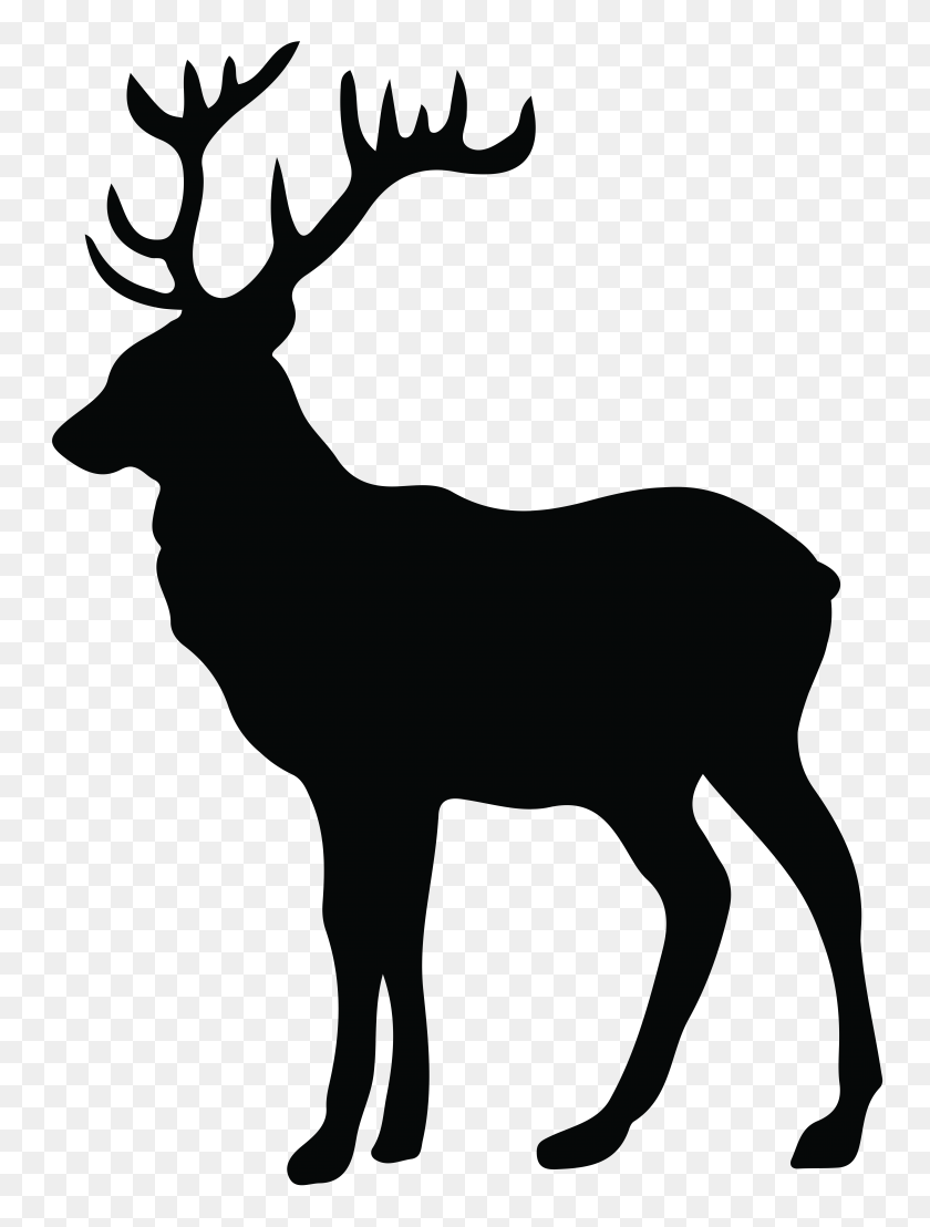 Elk Clipart Stag Silhouette Silhouette - Reindeer Head Clipart