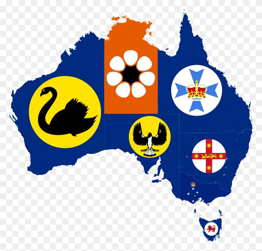 Emblem Map Of Australian States Maps Australia - Australian Flag Clip Art