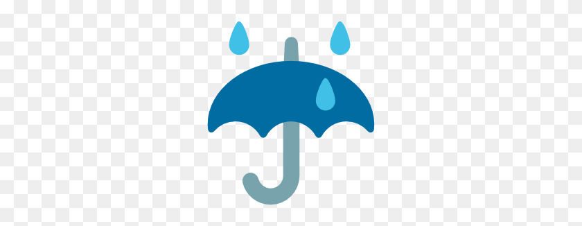 Emoji Android Umbrella With Rain Drops - Rain Drops PNG