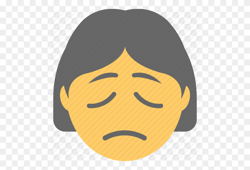 Emoticon, Sad Face, Unhappy, Woman Emoji, Worried Icon - Worried Emoji PNG