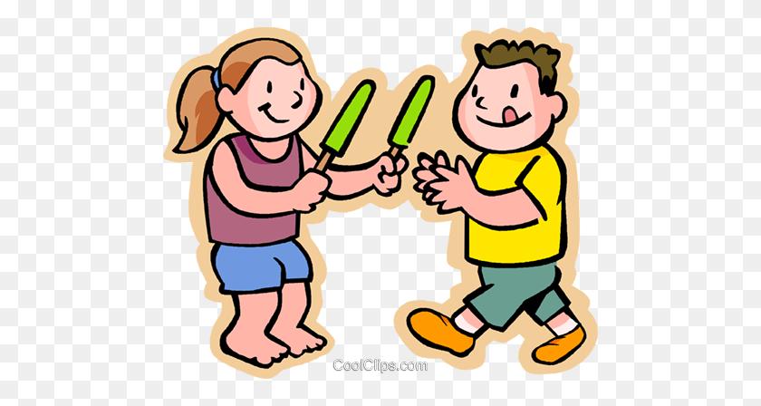 Enfants De Manger Un Popsicle, Le Partage Vecteurs De Stock Et - Manger Clipart