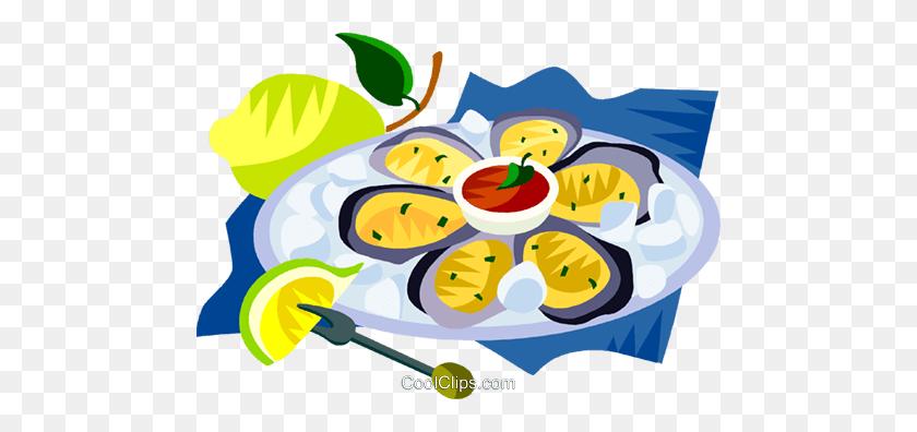Eu European Cuisine Oyster Platter Royalty Free Vector Clip Art - Oyster Clipart