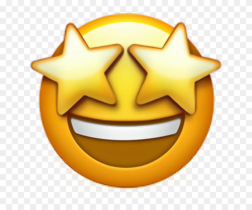 Excited Emoji Face Stars Emoji Emoticon Iphone Ipho - Excited Emoji PNG