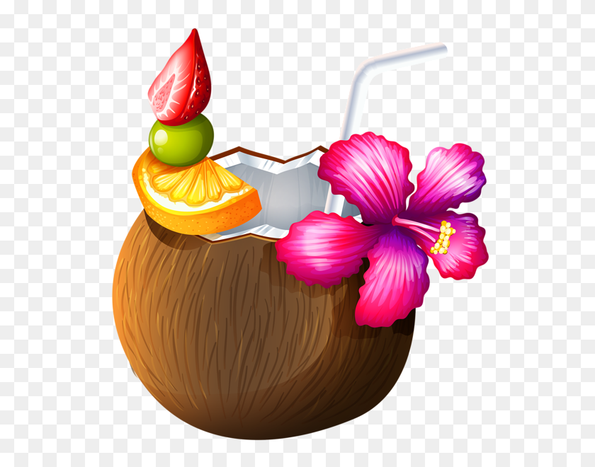 Exotic Coconut Cocktail Food, Candy Drink Art - Moana Bebe PNG