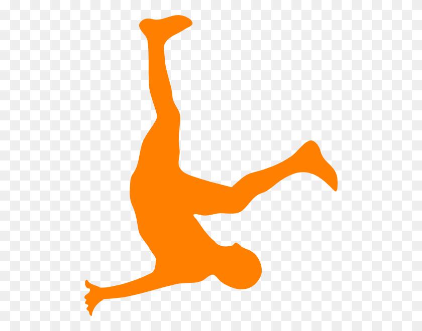 Falling Man In Organge Clip Art - Man Falling PNG