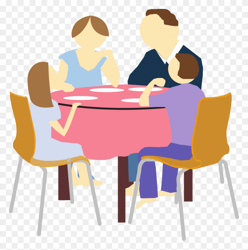 1000x1006 Family Eating Clip Art - Lunch Table Clipart