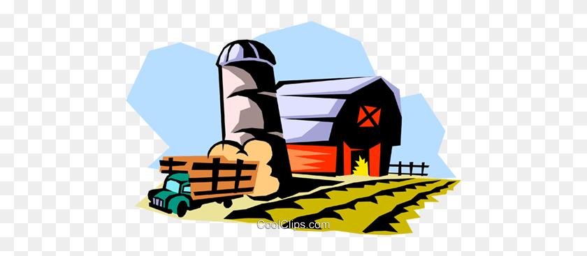480x307 Farm Landscape Royalty Free Vector Clip Art Illustration - Free Farmhouse Clipart