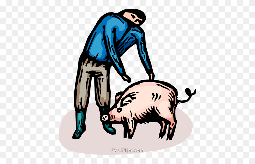 Farmer And A Pig Royalty Free Vector Clip Art Illustration - Pig Image Clipart