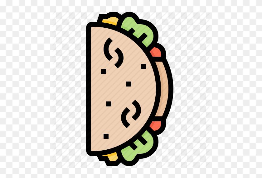 512x512 Fastfood, Food, Mex Taco Icon - Taco PNG