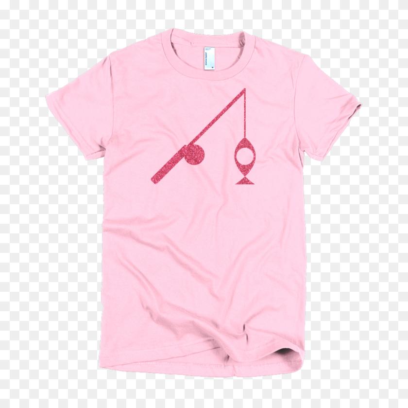Fish N Pole Custom T Shirt Glitter Pink On Pink Fishing Icons - Pink Glitter PNG