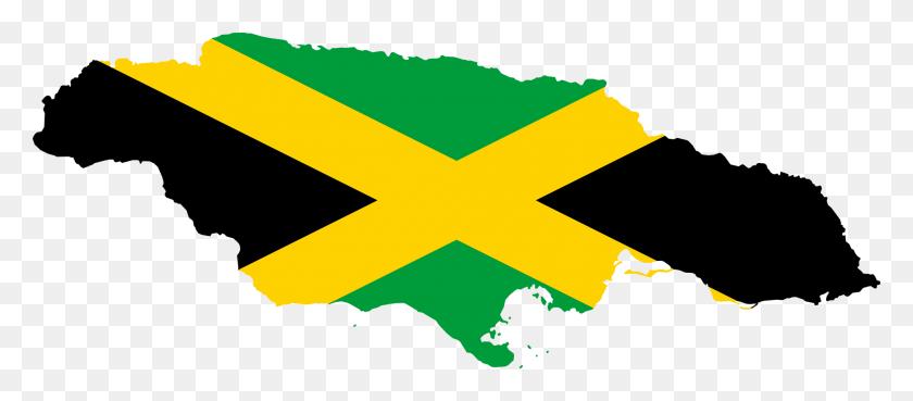 Flag Map Of Jamaica - Rastafarian Clipart