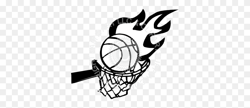 Flaming Basketball And Hoop - Flaming Basketball Clipart