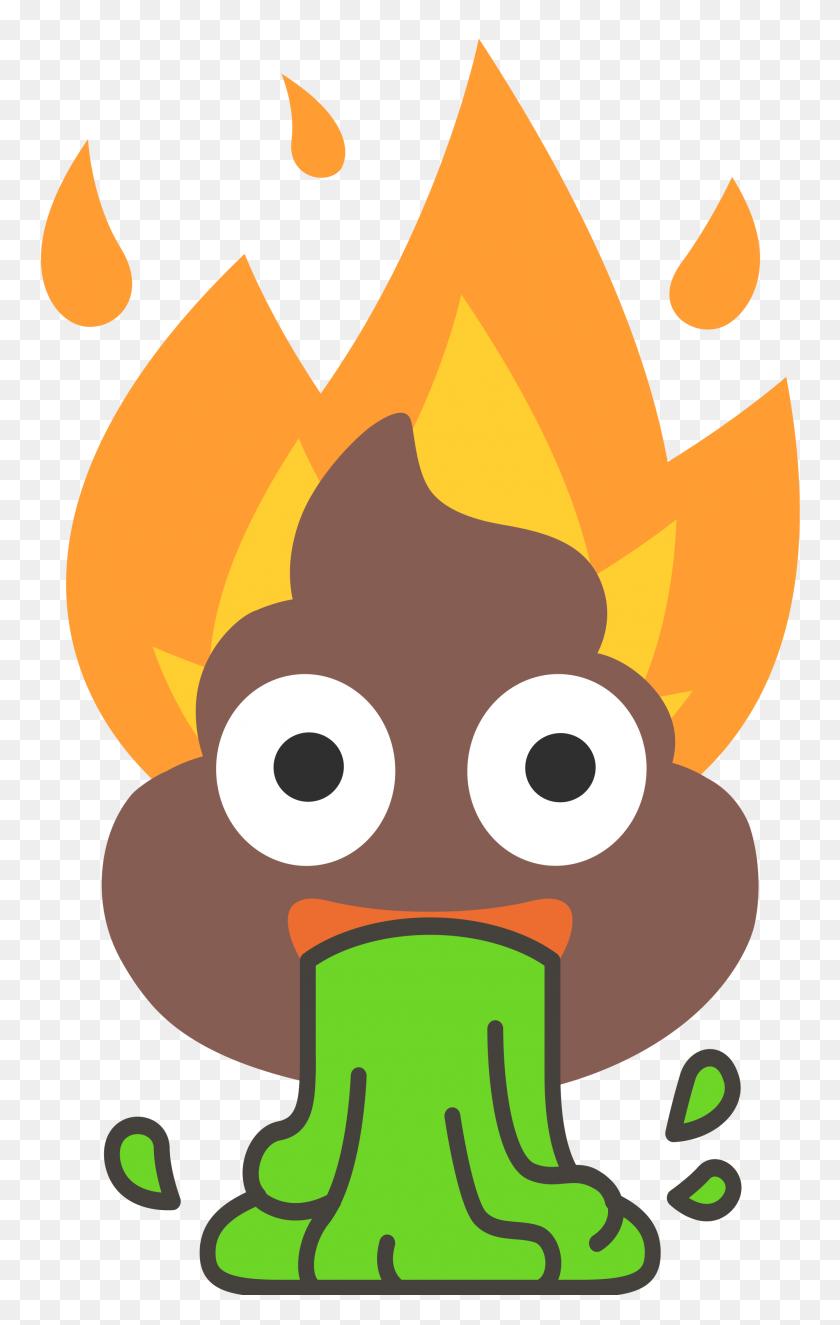 Flaming Poop Vomit Emoji - Puke Emoji PNG