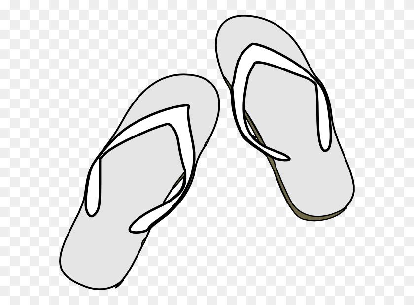 600x559 Flip Flops Clipart Black And White - Flip Flop Clip Art Free