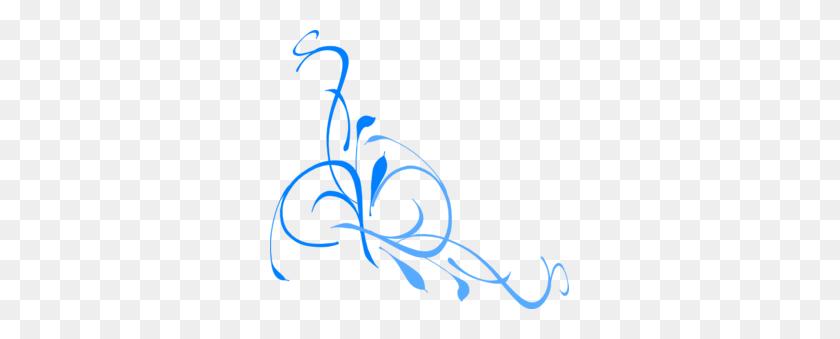 Floral Swirl Blues Clip Art - Blues Clipart