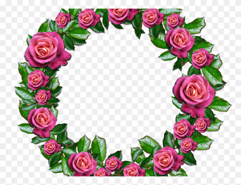 Floral Wreath Png With Pink Roses And Leafs - Rose Border PNG