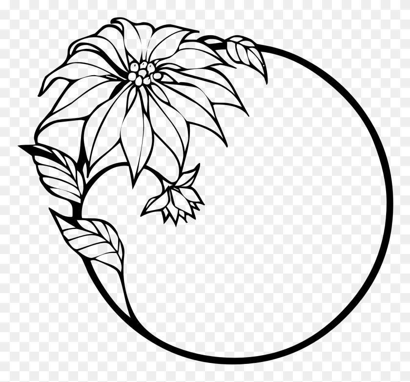 Flower Black And White Flower Clipart Black And White Border - Flower Border PNG