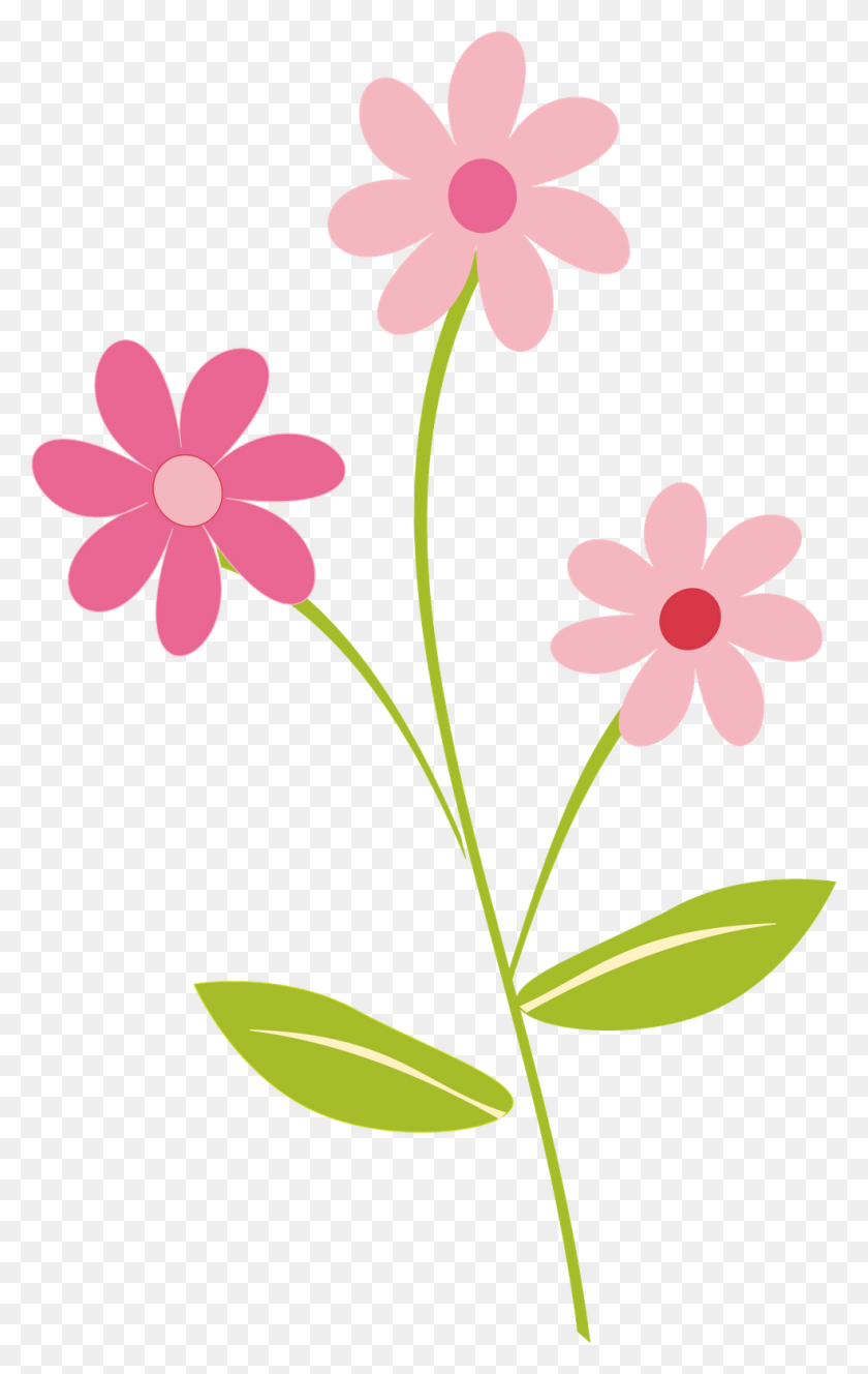 984x1600 Flower Border Cliparts - Pink Flower Clipart