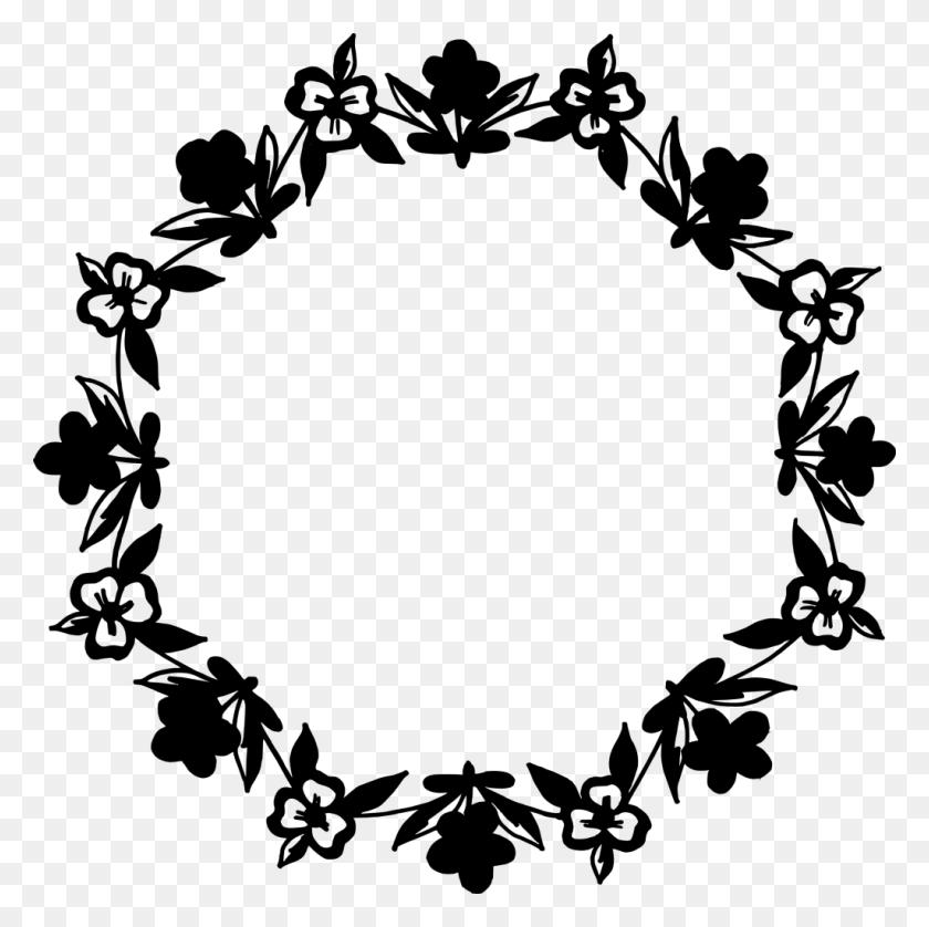 Flower Circle Clip Art - Black Flower PNG