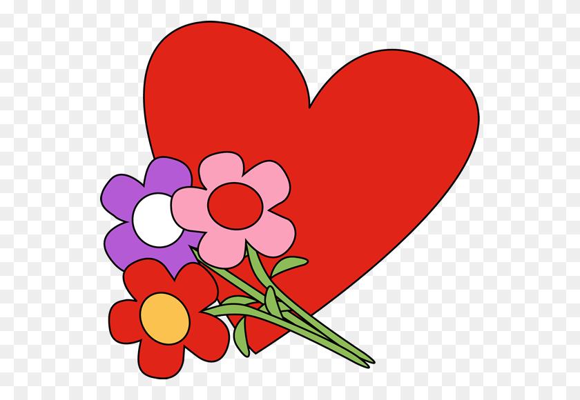 550x520 Flower Heart Cliparts - Bleeding Heart Clipart