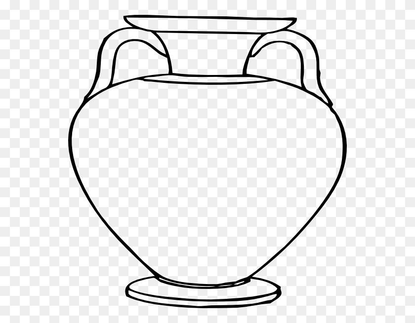 564x595 Flower Outlines For Coloring Large Vase Clip Art - Odysseus Clipart