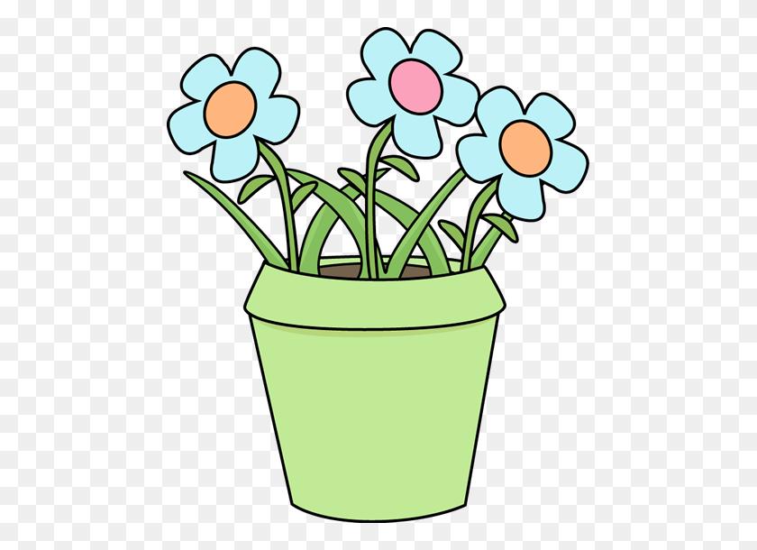 Flower Pot With Blue Flowers Clip Art - Blue Flower Clipart