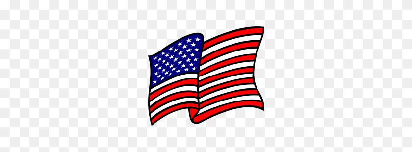 Flowing American Flag Clipart - American Flag Emoji PNG