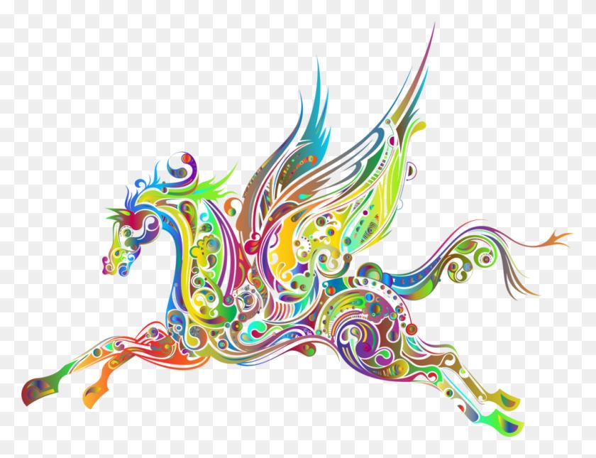 Flying Horses Pegasus Drawing Abstract Art - Pegasus Clipart